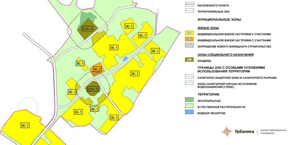 Градостроительное зонирование. Деревня Ильеши (фрагмент)