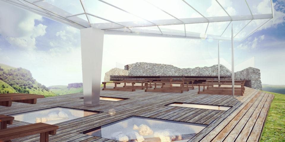 """Фрагмент площадка для отдыха и археологического музея под открытым небом в комплексе """"Крепость Калаж"""""""