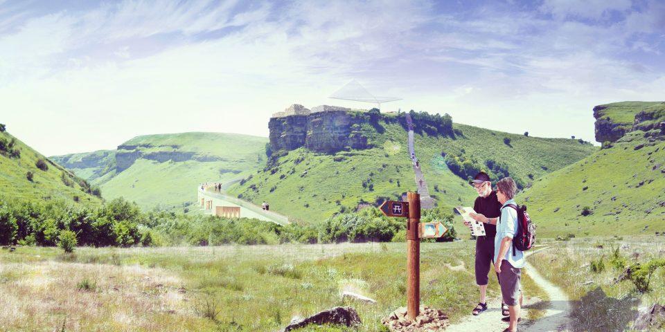 """Визуализация туристического маршрута на подходе к зоне """"Крепость Калаж"""" курорта Гумлокт"""