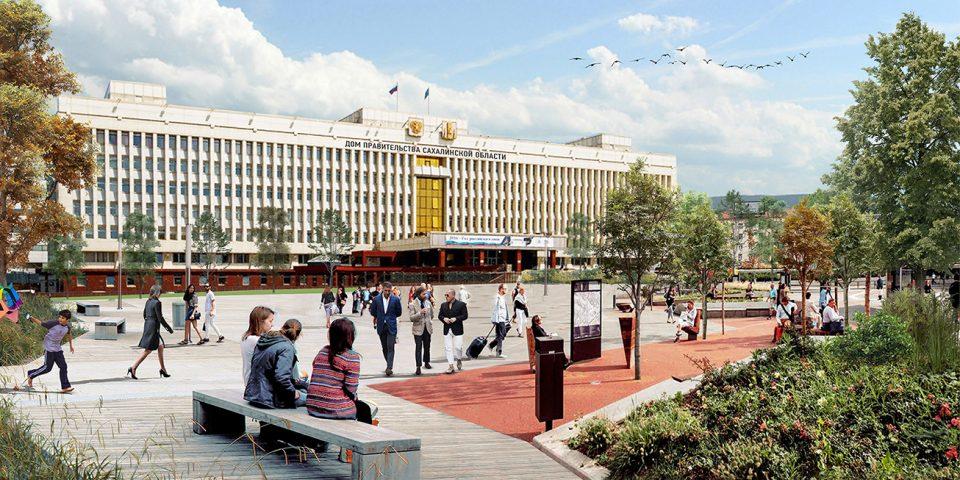 Визуализация благоустройства площади перед  Домом Правительства
